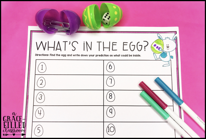 One page printable and eggs around it. The page has the title What's in the egg? and gives ideas on how to reuse plastic Easter Eggs
